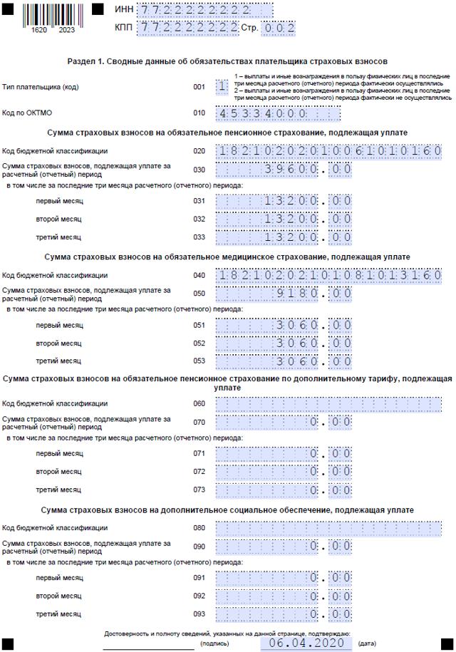 Заполнение формы РСВ-1 в 2020 году