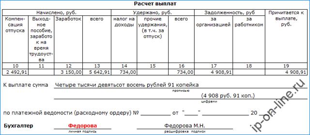 Записка-расчет при увольнении форма Т-61 в 2020 году