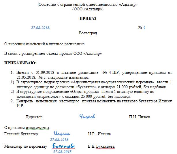 Порядок внесения изменений в штатное расписание: порядок, ТК РФ